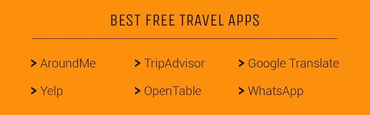 free travel apps include AroundMe, TripAdvisor, Google Translate, WhatsApp, Yelp, and OpenTable