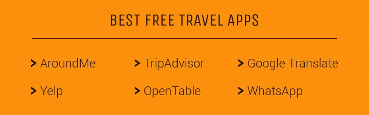 free travel apps include AroundMe, TripAdvisor, Google Translate, WhatsApp, Yelp, and OpenTable