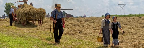 amish family on farm