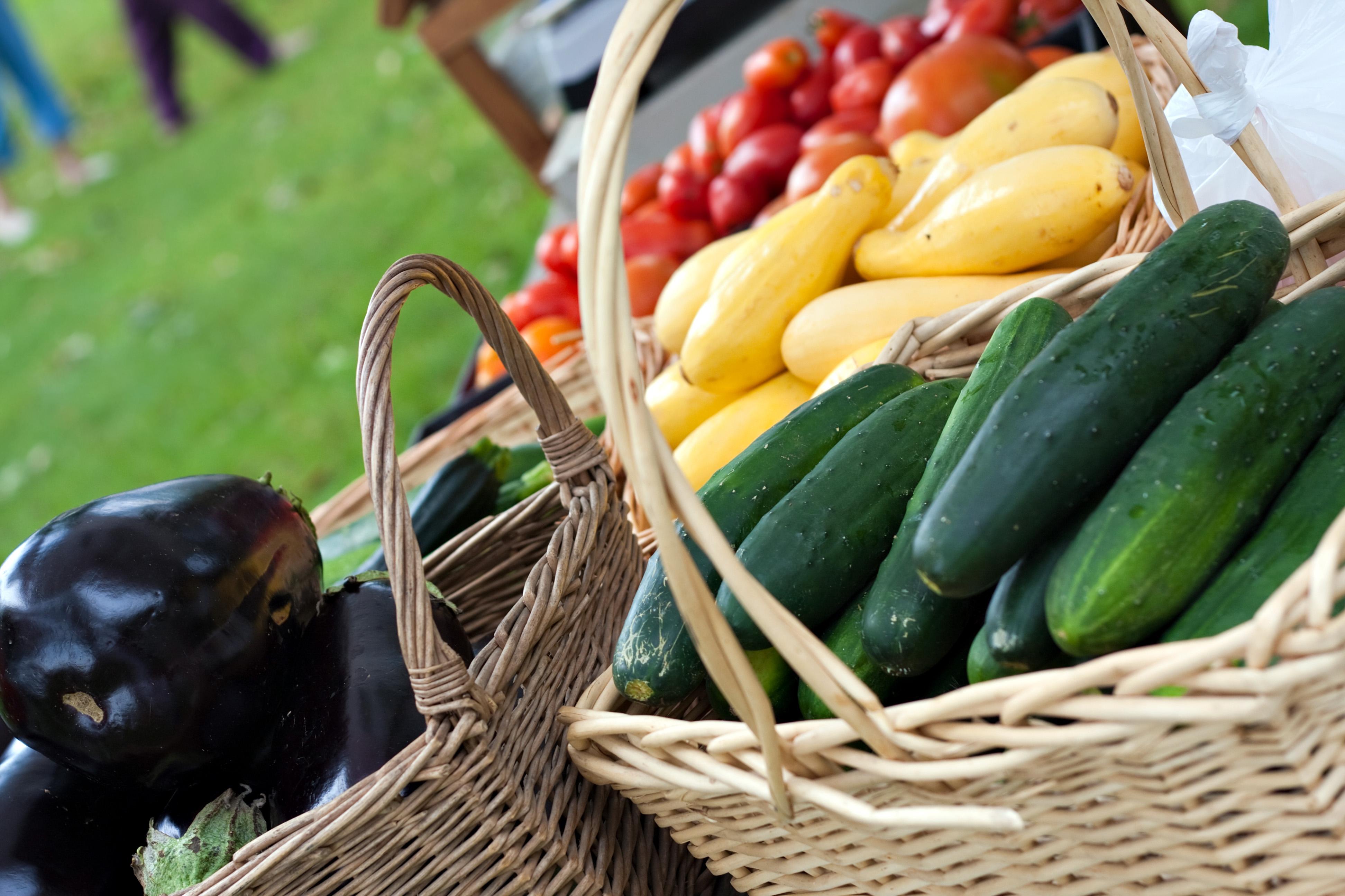 basket of vegetables at farmers market